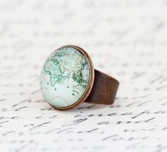 World Map Statement Ring - Map Ring, Gift For Traveler, Map Jewelry, Travels Adventures, Novelty Ring, Gift For Woman, Adjustable Ring