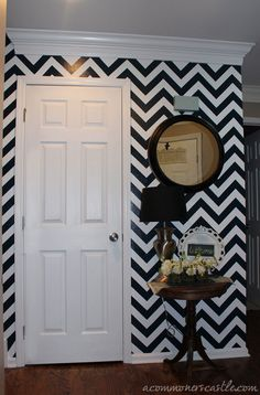 For the bedroom alcove. a commoner's castle: Our Chevron Stripe Reveal and Tutorial