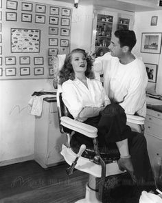 Rita Hayworth having her make-up done on the set of Gilda, 1944.