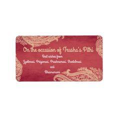 Indian Wedding, Hindu Wedding, Mehndi, red, gold Label