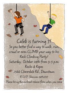 Birthday Party Invitations Rock Climbing Front Teal Parties - Birthday party invitations rock climbing