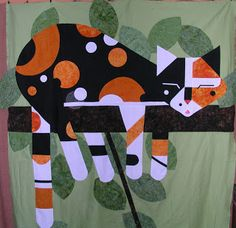 Charley Harper Calico Cat - interesting quilting for fur