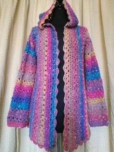 1779ab1b45d691 Crochet rainbow jacket unique one of a kind hoodie custom made to order size  8 to 18 choose the size you want uk festival party wedding