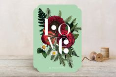 Floral Noel Holiday Cards by Baumbirdy
