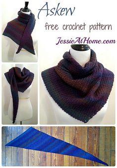 Free #crochet pattern for asymmetrical shawl / wrap