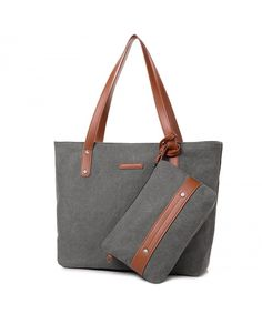 8a31b6f0b968 Women Portable Large Canvas Shoulder Bag Handbag with Small Purse - Grey -  CN184C3L5TW