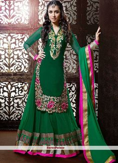 Shraddha Kapoor Style Dark Green Georgette Anarkali Suit