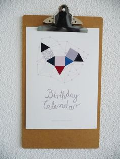 Beautiful contemporary perpetual birthday calendar with calligraphy for instant download by Pattern Jots Shop https://www.etsy.com/listing/212977183/diy-perpetual-birthday-calendar?ref=shop_home_active_1