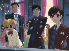 Mori, Honey, Kyoya, and Haruhi Ouran Highschool Host Club, Ouran Host Club, High School Host Club, Host Club Anime, Kamigami No Asobi, Gekkan Shoujo Nozaki Kun, Comic Manga, School Clubs, Kaichou Wa Maid Sama