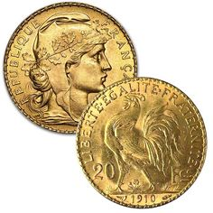 "Beginning in 1849 the 20 franc coins carried the image of Ceres, the Roman goddess of agriculture. 'Le coq gaulois"", the Gallic Rooster, was added to the coin's reverse in Bullion Coins, Gold Bullion, Gold Coin Price, Gold Coins For Sale, Numismatic Coins, French Coins, Silver Investing, Buy Gold And Silver, Coins Worth Money"