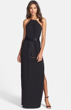 Halston Heritage Shirred Neck Belted Gown.