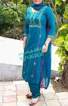 Embroidery Suits Punjabi, Embroidery Suits Design, Embroidery Fashion, Embroidery Dress, Stylish Dress Designs, Dress Neck Designs, Designs For Dresses, Stylish Dresses, Punjabi Suits Designer Boutique