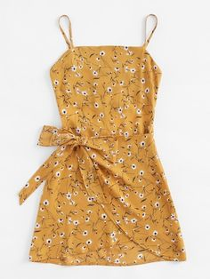 Shop Ditsy Print Open Back Wrap Hem Cami Dress online. SheIn offers Ditsy Print Open Back Wrap Hem Cami Dress & more to fit your fashionable needs. Cute Summer Outfits, Cute Casual Outfits, Spring Outfits, Casual Dresses, Elegant Dresses, Formal Dresses, Wedding Dresses, Short Dresses, Tailored Dresses