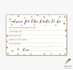 Gold Black Bridal Advice Card - Printed or Printable, Instant Download Confetti Wedding Art Deco Pop Fizz Clink Shower Game Gatsby - #013 by chitrap