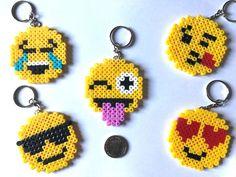 Emoji Face Keyrings Hama Beads NEW Assorted ( 5 Pack ) Handmade UK