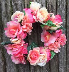 Spring floral Peony Wreath This beautiful Reese would be perfect for spring summer or Easter. The soft pink's and off whites in the Peonies accent each otherOn the spring wreath. This rate would look great on any door Easter Wreaths, Peonies, Floral Wreath, Spring Summer, My Favorite Things, Pink, Handmade, Beautiful, Roses