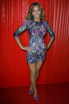 Beyonce in a Balmain multi-colored embellished dress at BET awards, June 2009.
