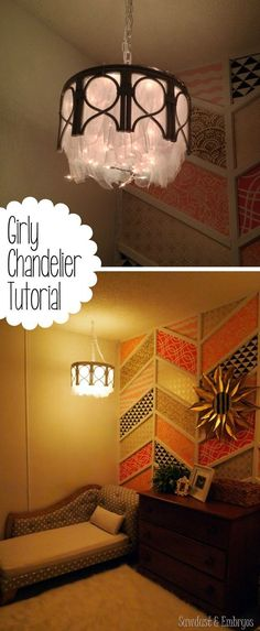 DIY chandelier using a bamboo end table, a tomato cage, tulle, and twinkle lights!  Step by Step Do It Yourself Lighting Project Tutorial {Reality Daydream}