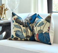 "PAIR of  20""sq. Thomas O'Brien  NYMPHEUS pillow covers in Teal. $290.00, via Etsy."