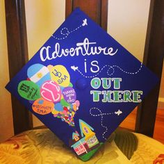 Graduation Cap Ideas: Adventure is Out There UP themed graduation cap! Obsessed with my grad cap! Graduation Cap Decoration and Decor college graduation Disney Graduation Cap, Funny Graduation Caps, Graduation 2016, Graduation Cap Designs, Graduation Cap Decoration, High School Graduation, Graduation Gifts, Graduation Ideas, Graduation Pictures