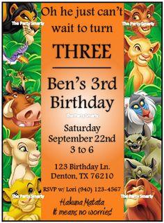 Lion King Birthday Invitation by ThePartySmarty on Etsy, $10.00