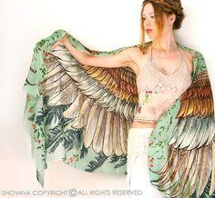 Echarpe d'ailes plumes d'oiseaux Bohème shawl vintage par Shovava