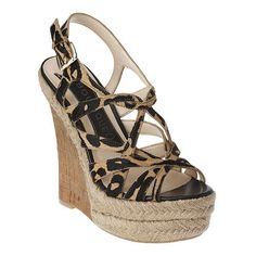 """I luv most animal prints. These are nice shoes. Animal strap espadrille with adjustable side buckle.  Cork 4.75"""" wedge with 1.5"""" rope platform and rubber bottom."""