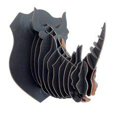 Cabeça de Rinoceronte 3D - preto