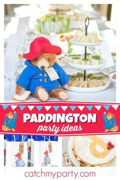 Take a look at this amazing Paddington Bear baby shower! The tea party food is incredible!! See more party ideas and share yours at CatchMyParty.com #catchmyparty #partyideas #paddingtonbearbabyshower  #babyshower #teaparty #paddingtonbearteaparty #afternoontea