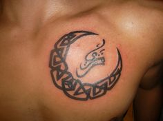 Tribal Moon with Lettering Chest Tattoo!