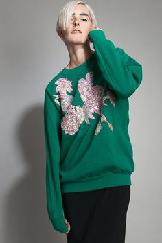 vintage 80s 90s sweat shirt sweater green floral by shoprabbithole