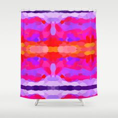 Loving this vibrant purple, hot pink and bright orange tie dye abstract designed shower curtain. #bathroom