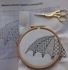 Blackwork Black work umbrella embroidery pattern £3.60 by CraftwithCartwright