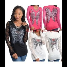 New lace long sleeves tee shirt top Sexy New . Long sleeves lace . Sublimation tattoo print with Rhinestone embellishment. Super comfy and sexy. Boutique Tops Tees - Long Sleeve