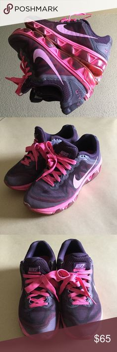 Pink and Purple max air Nikes Really cute and comfy lightly worn Nikes, I will clean them before shipping, mostly worn indoors, but very clean Nike Shoes Sneakers