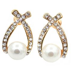>> Click to Buy << 12Pairs Hot Brand Women's White Faux Pearl Ear Studs Earrings Cross Crystal Wedding Jewelry Gifthot BJRV #Affiliate