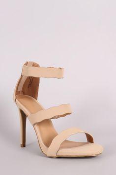 Anne Michelle Nubuck Triple Scalloped Straps Stiletto Heel