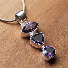 100% 925 Solid Sterling Silver Semi-Precious Purple Amethyst Natural Stone Pendant