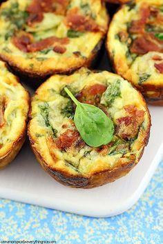 Spinach, Artichoke and Bacon Mini Quiches