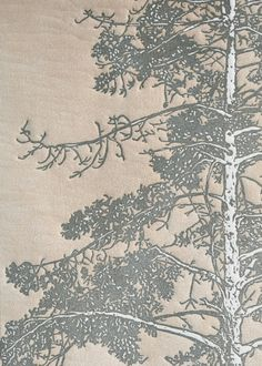 Linocut Original Art Relief Print 18x24 Arboreal No.1 Slate Gray and Sepia-toned Redwood Tree near Alameda Point. via Etsy.