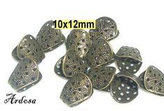 12 Perlenkappen 10x12mm bronze  55.10 von Schmuckmaterial auf Etsy