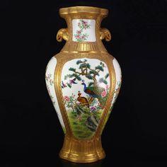 Chinese Gilt Gold Famille Rose Porcelain Vase