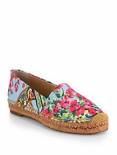 Dolce & Gabbana Floral-Print Canvas Espadrille Flats