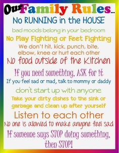 Family House Rules Template | Don't lose sight of the Ultimate Goal...