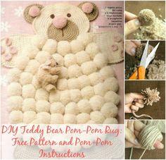 DIY Gorgeous Teddy Bear Pom Pom Rugs + Bonus Colorful Rugs