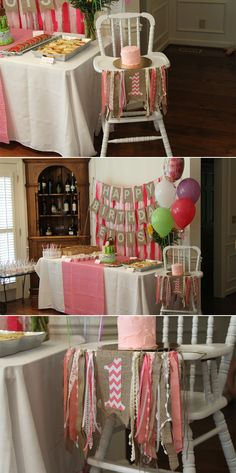 Love the burlap and ribbon high chair decoration.Eloise's pink picnic first birthday - coming up after the - how we refinished the Jenny Lind high chair to become an heirloom birthday gift! Baby Girl 1st Birthday, Bday Girl, Baby Birthday, First Birthday Parties, Birthday Party Themes, First Birthdays, Birthday Ideas, Picnic Birthday, Birthday Backdrop