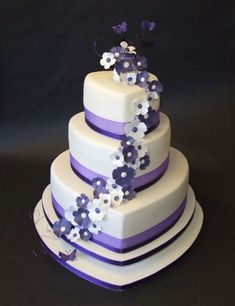 ivory, black, and purple wedding | Ivory & Purple Heart Wedding Cake 2 | Flickr - Photo Sharing! #weddingcakedesigns
