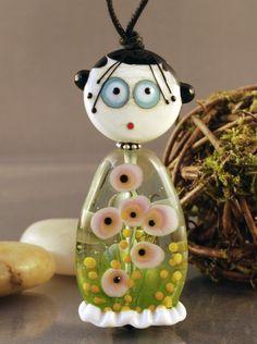 LITTLE MISS  GARDEN GIRL 2 piece glass bead doll by jperaladesigns