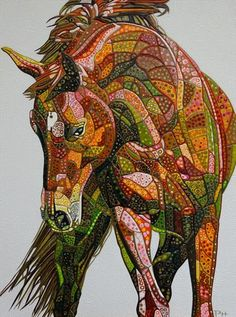 "Abstract Horse 8 (Sculptural) by Paula Horsley. Painting on deep edge canvas 30"" x 40"". Original art."