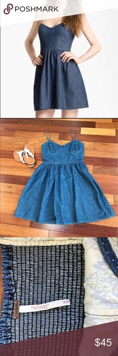 Free People Denim Polkadot Bustier Dress Authentic Free People. This denim dress is so flirty. EUC No marks or stains. Perfect for summer! SIZE MEDIUM Free People Dresses